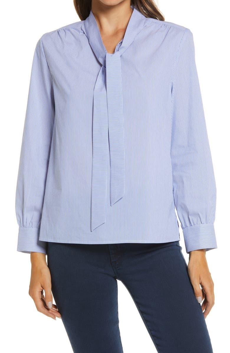 MING WANG Tie Neck Blouse, Main, color, BLUE SMOKE/WHITE