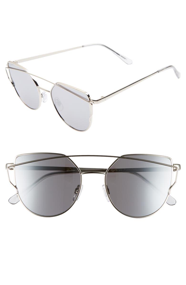BP. 51mm Thin Brow Angular Aviator Sunglasses, Main, color, 040
