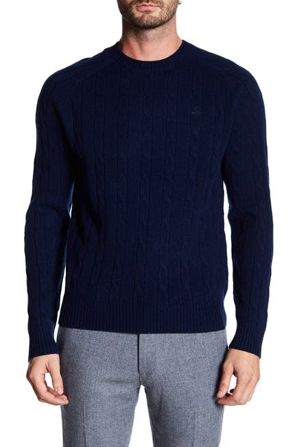 Image of Brooks Brothers Merino Wool Cable Knit Sweater