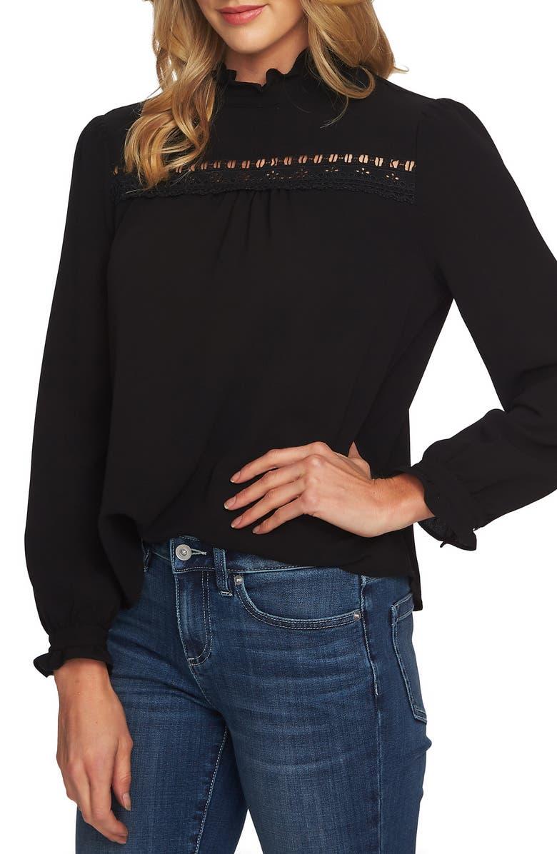 CECE Lace & Ruffle Detail Long Sleeve Blouse, Main, color, 001