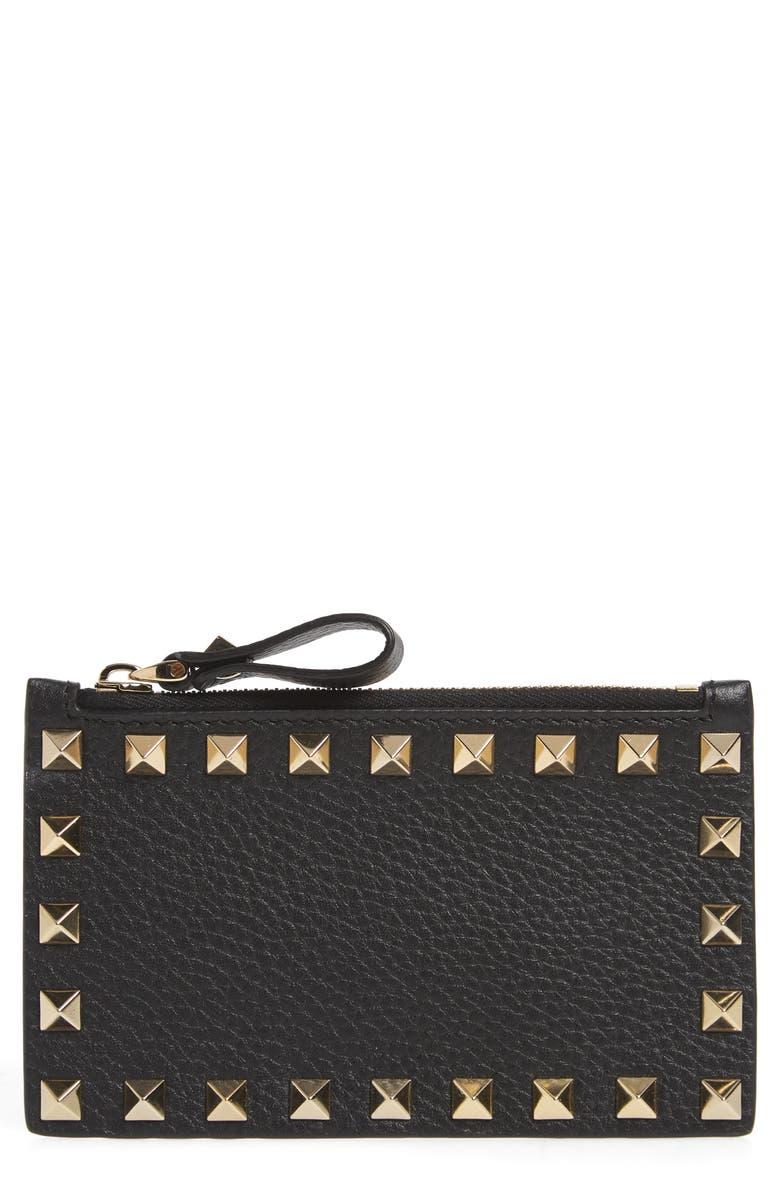 VALENTINO GARAVANI Rockstud Leather Zip Card Case, Main, color, BLACK ROCKSTUD