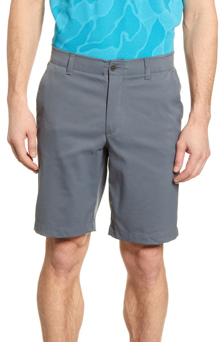 UNDER ARMOUR Takeover Regular Fit Golf Shorts, Main, color, PITCH GREY/ WHITE