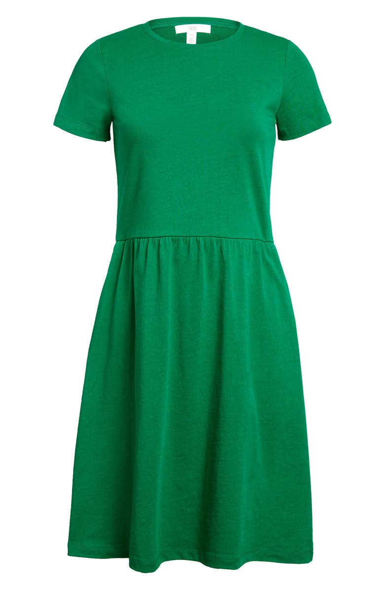 1901 Fit & Flare T-Shirt Dress, Main, color, GREEN JOLLY