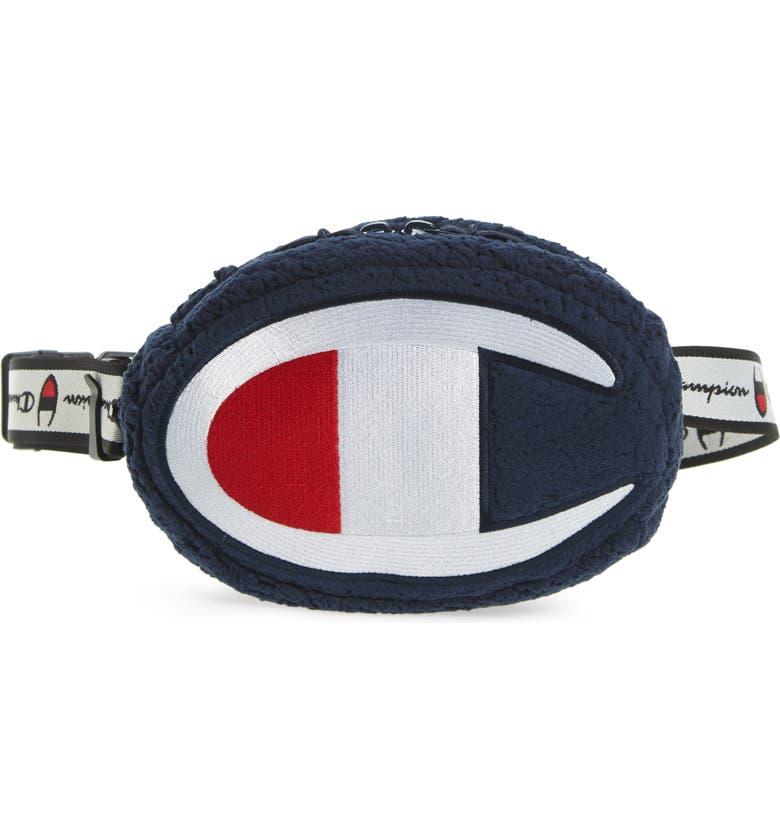 CHAMPION Logo Faux Shearling Belt Bag, Main, color, 410