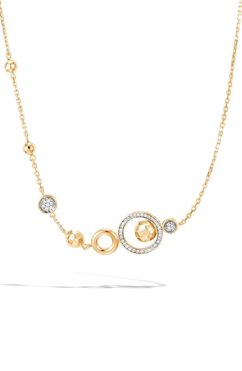 JOHN HARDY Dot Station Diamond & 18K Gold Necklace, Main, color, GOLD
