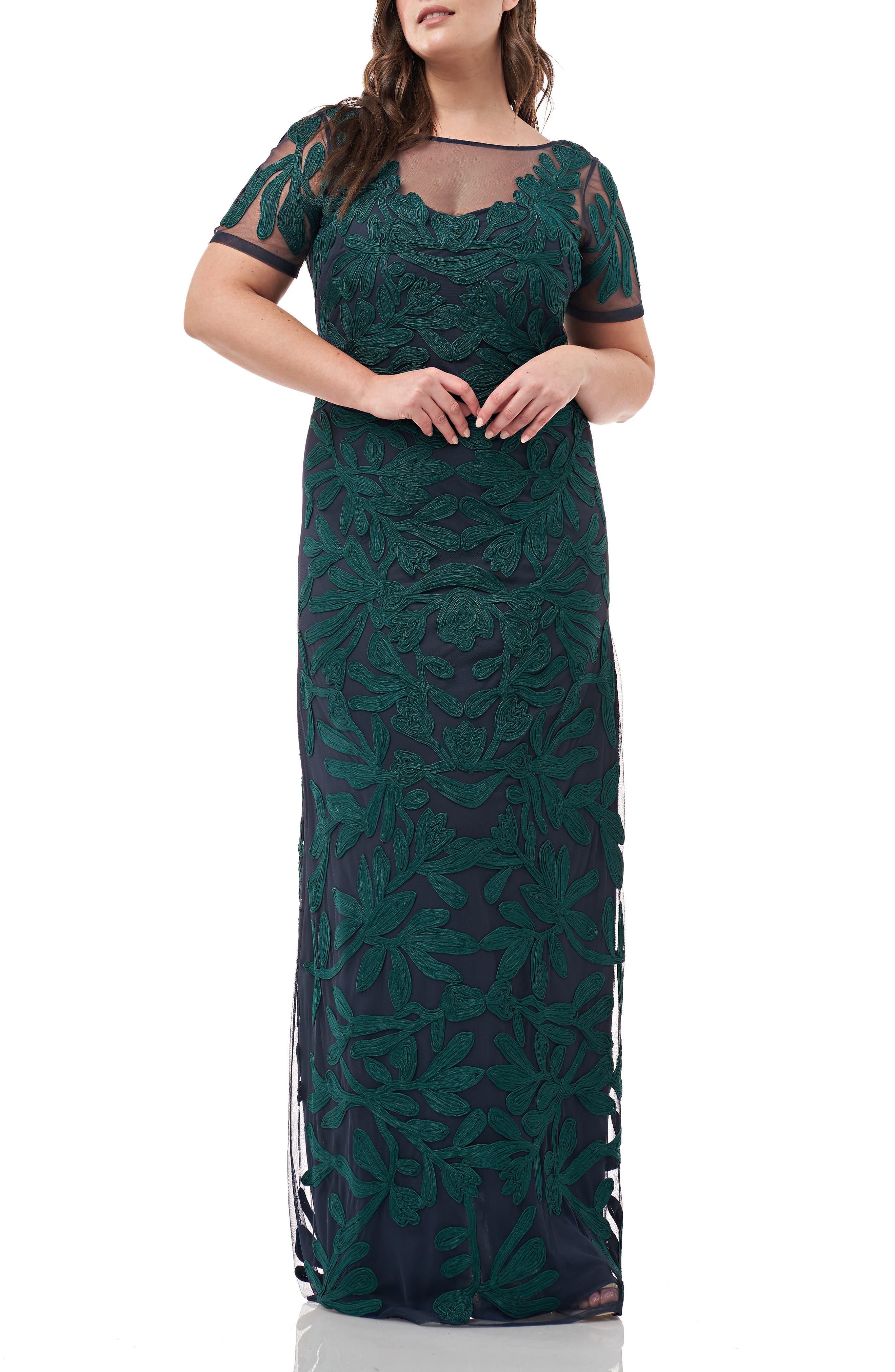 1920s Evening Dresses & Formal Gowns Plus Size Womens Js Collections Illusion Soutache Evening Dress Size 22W - Green $388.00 AT vintagedancer.com