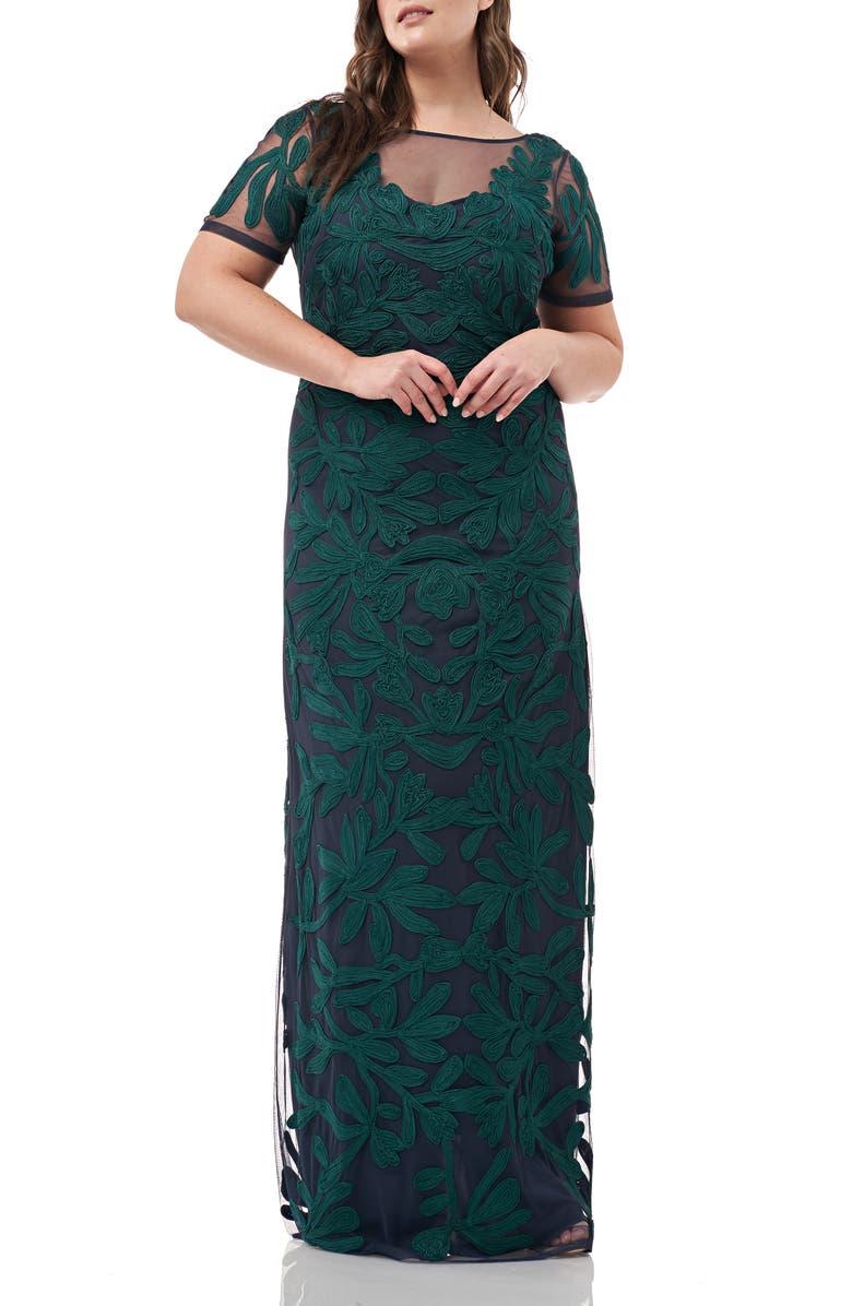 JS Collections Illusion Soutache Evening Dress Plus Size