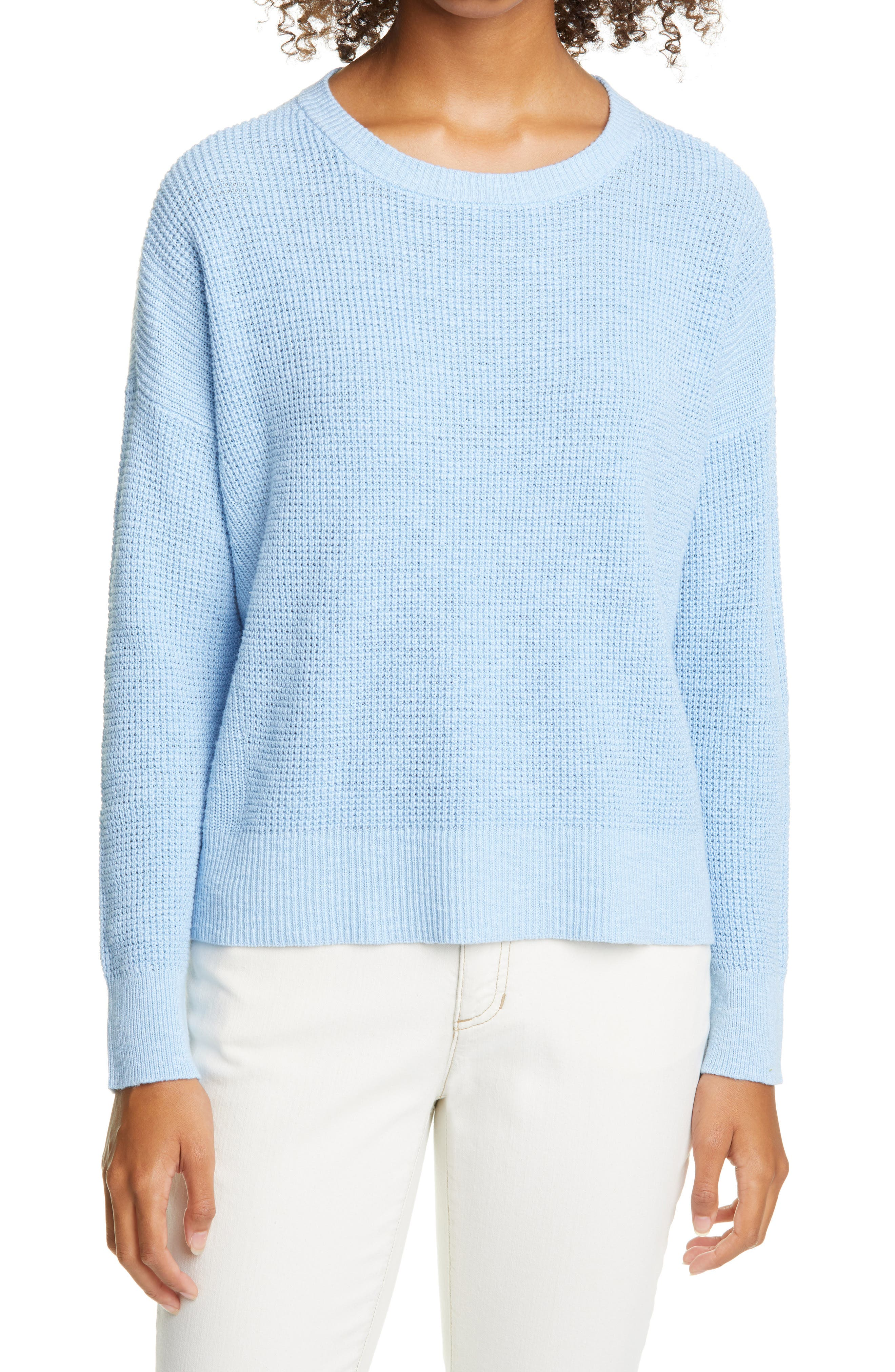 A breathable waffle knit and ribbed trims bring rich texture to this drop-shoulder sweater with a relaxed fit. Style Name: Eileen Fisher Waffle Knit Sweater. Style Number: 6102348. Available in stores.