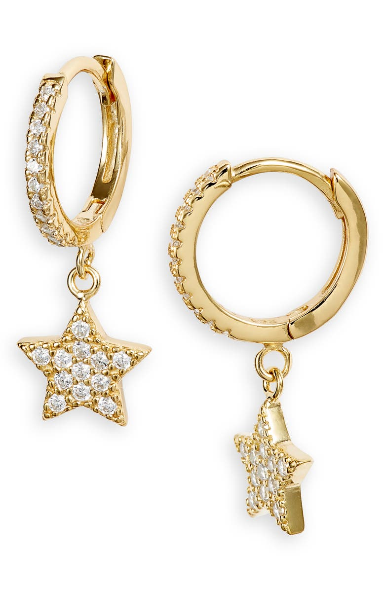 ADINA'S JEWELS Pavé Star Huggie Hoop Earrings, Main, color, GOLD