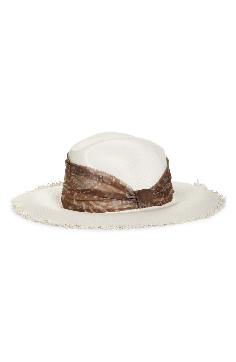 BRUNELLO CUCINELLI Straw Fedora with Silk Band, Main, color, 100
