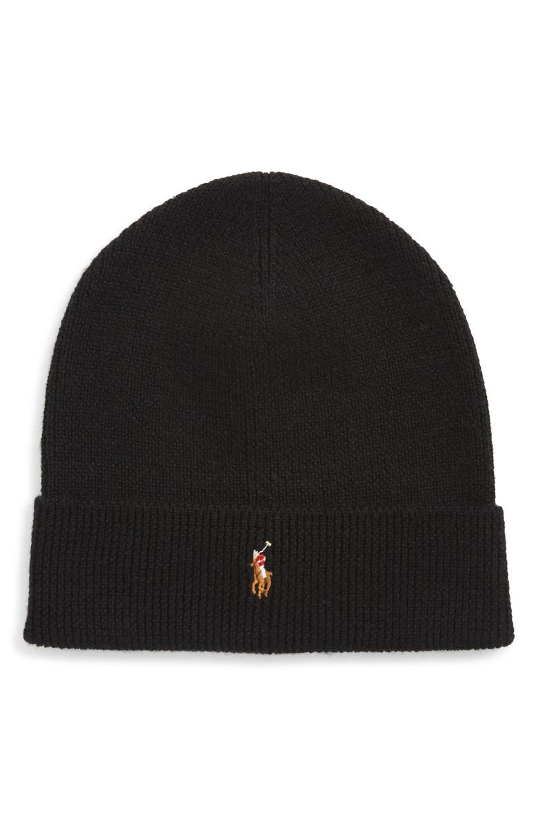 POLO RALPH LAUREN Classic Merino Wool Beanie, Main, color, POLO BLACK