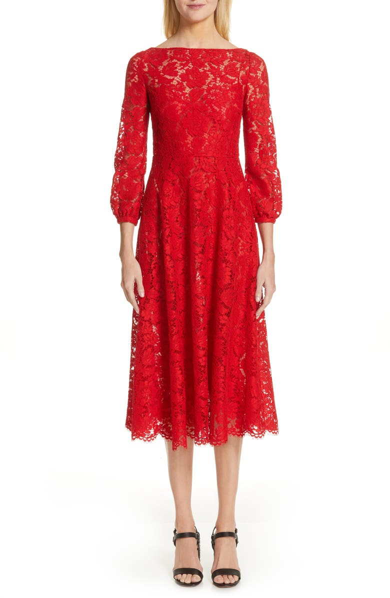 VALENTINO Lace A-Line Midi Dress, Main, color, ROSSO