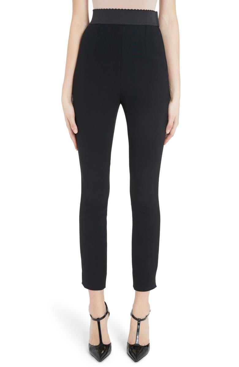 DOLCE&GABBANA Slim Stretch Pants, Main, color, BLACK