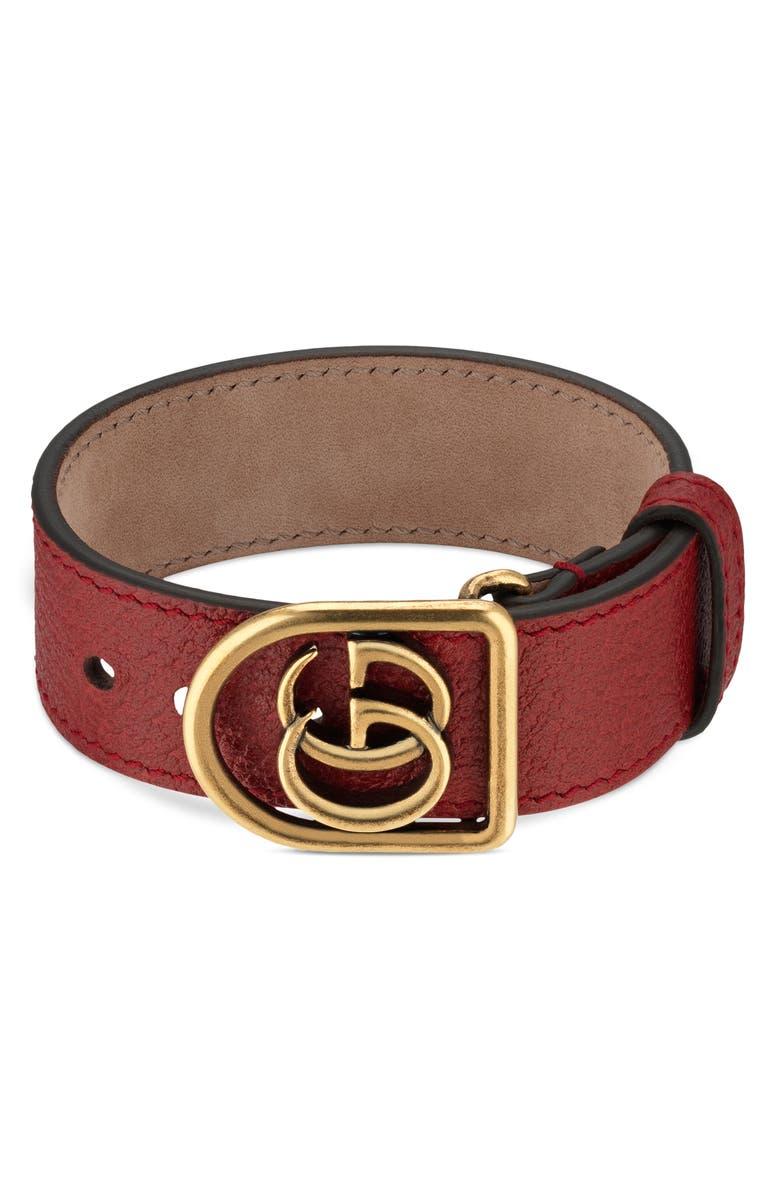 GUCCI Double-G Leather Belt Bracelet, Main, color, BROWN