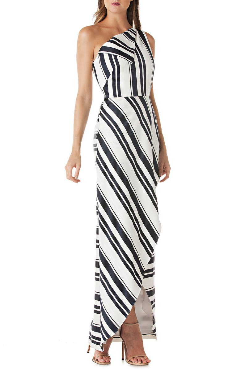 KAY UNGER One-Shoulder Cross Front Maxi Dress, Main, color, NAVY/ WHITE