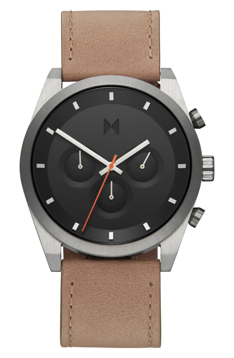 MVMT Element Chronograph Leather Strap Watch, 44mm, Main, color, TAN/ BLACK/ SILVER