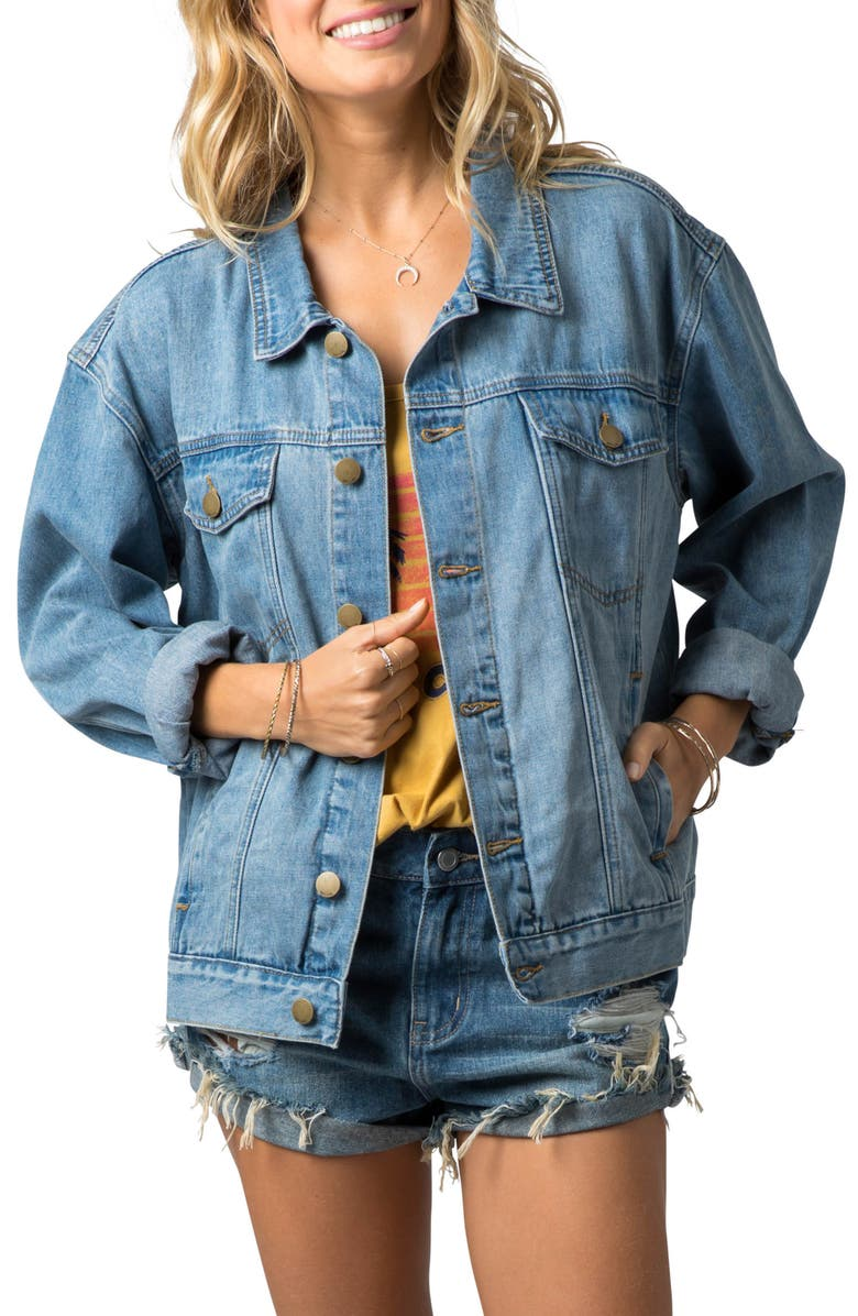 RIP CURL Sun Bleached Denim Jacket, Main, color, BLUE