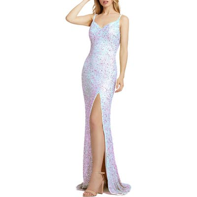 MAC Duggal Bustier Sequin Sheath Gown, White