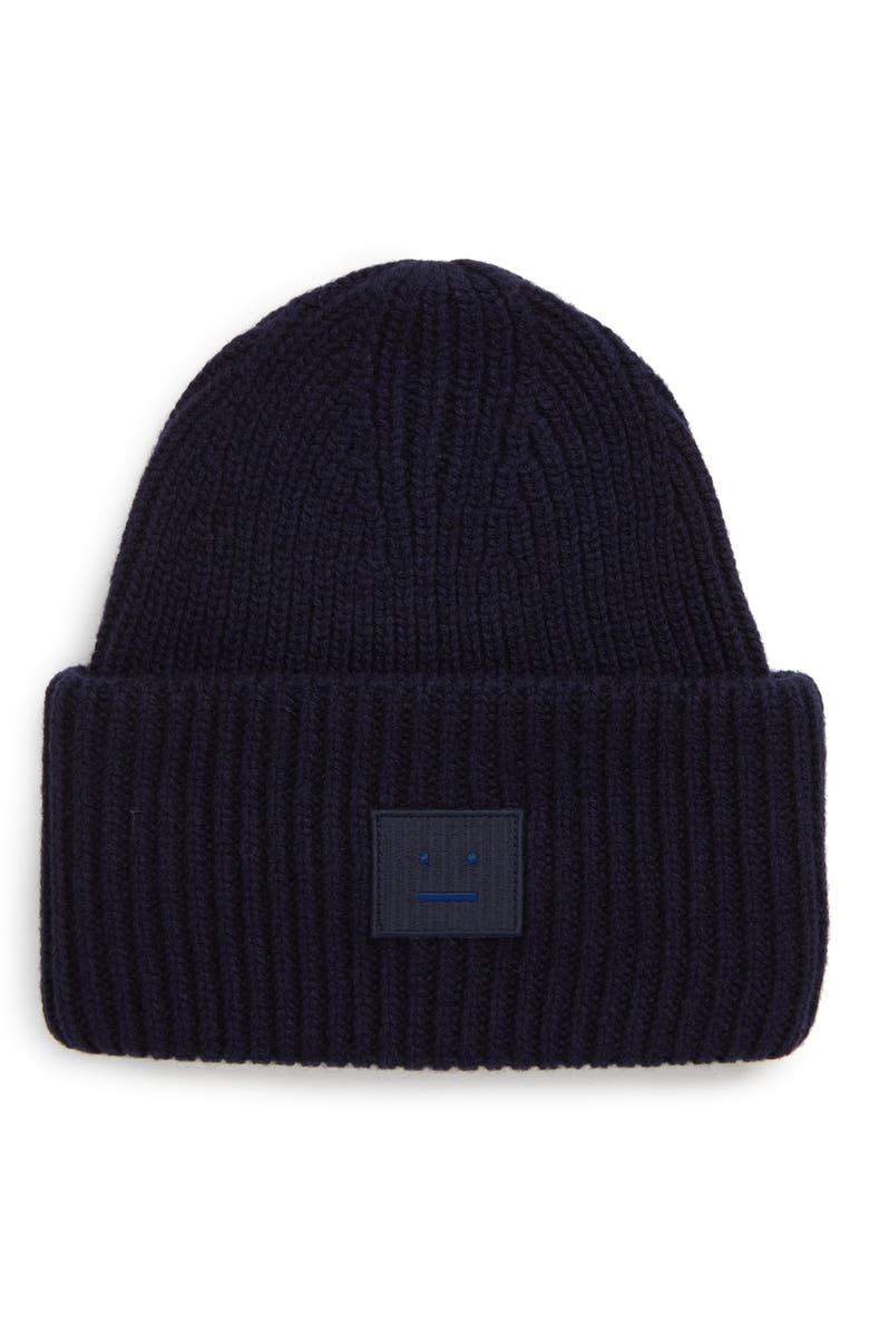 ACNE STUDIOS Pansie Face Wool Beanie, Main, color, NAVY BLUE
