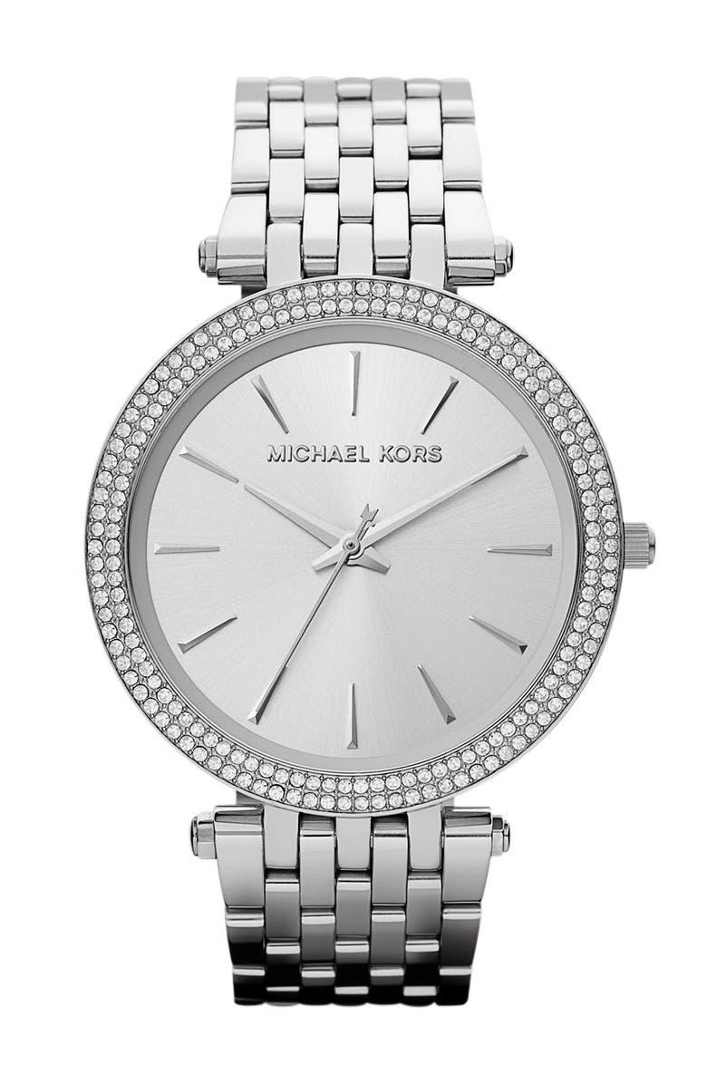 MICHAEL KORS 'Darci' Round Bracelet Watch, 39mm, Main, color, SILVER