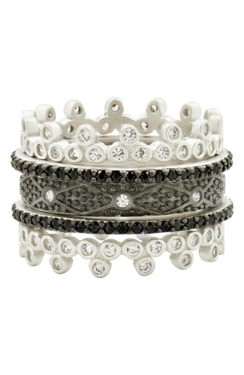 FREIDA ROTHMAN Industrial Finish 5-Set Stackable Rings, Main, color, BLACK/ SILVER