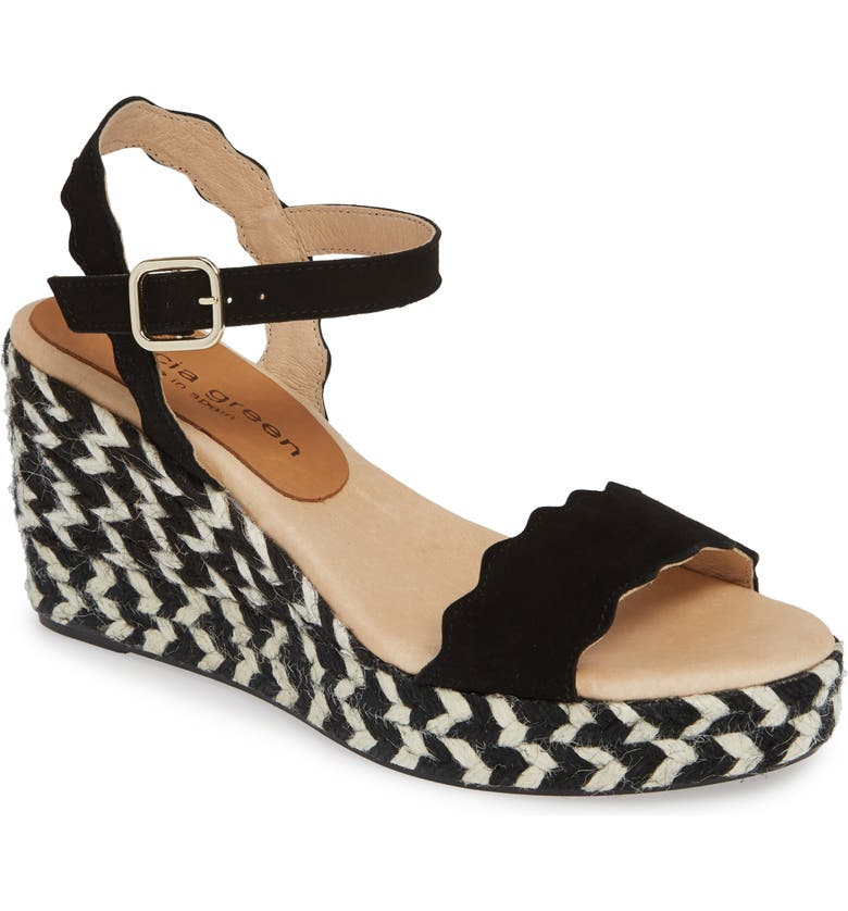 PATRICIA GREEN St. Tropez Bow Espadrille Wedge Sandal, Main, color, BLACK SUEDE