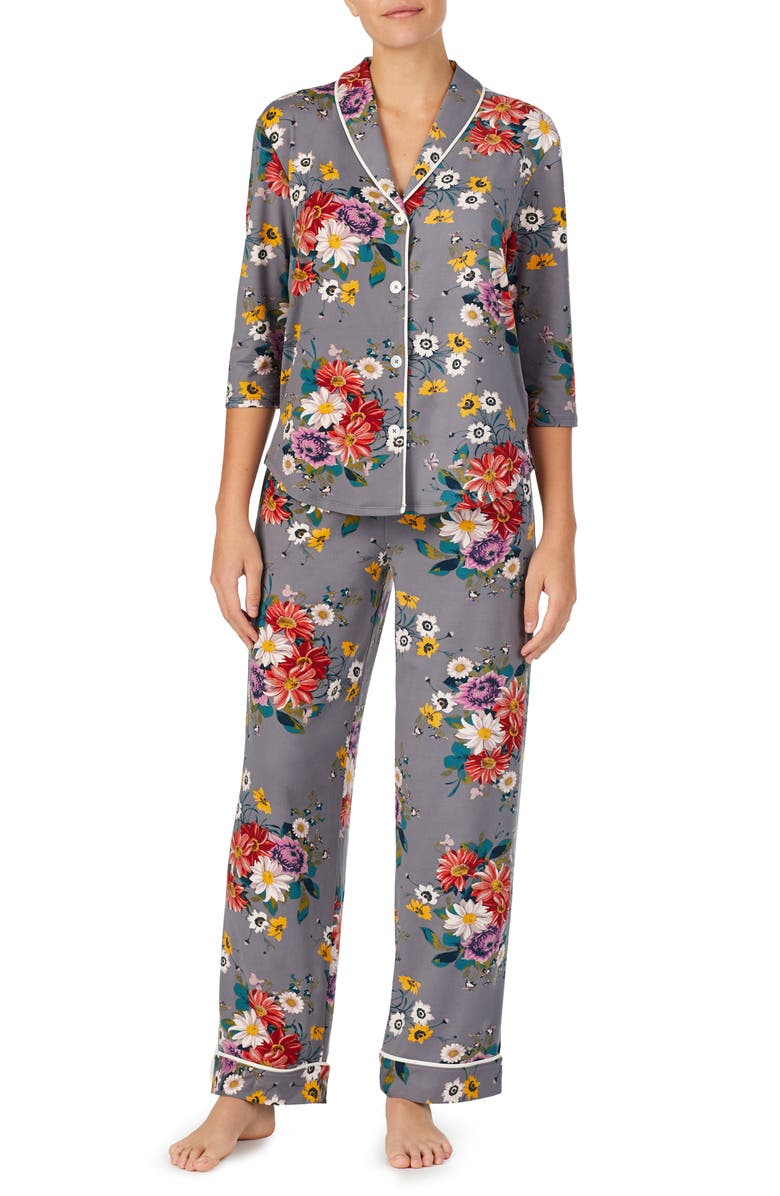 ROOM SERVICE Cozy Cool Pajamas, Main, color, GREY MULTI FLORAL