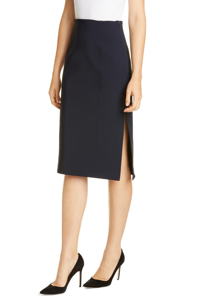 ADAM LIPPES Side Slit Bonded Neoprene Pencil Skirt, Main, color, BLACK