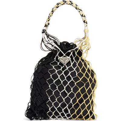 Prada Rete Colorblock Top Handle Drawstring Bag - Black