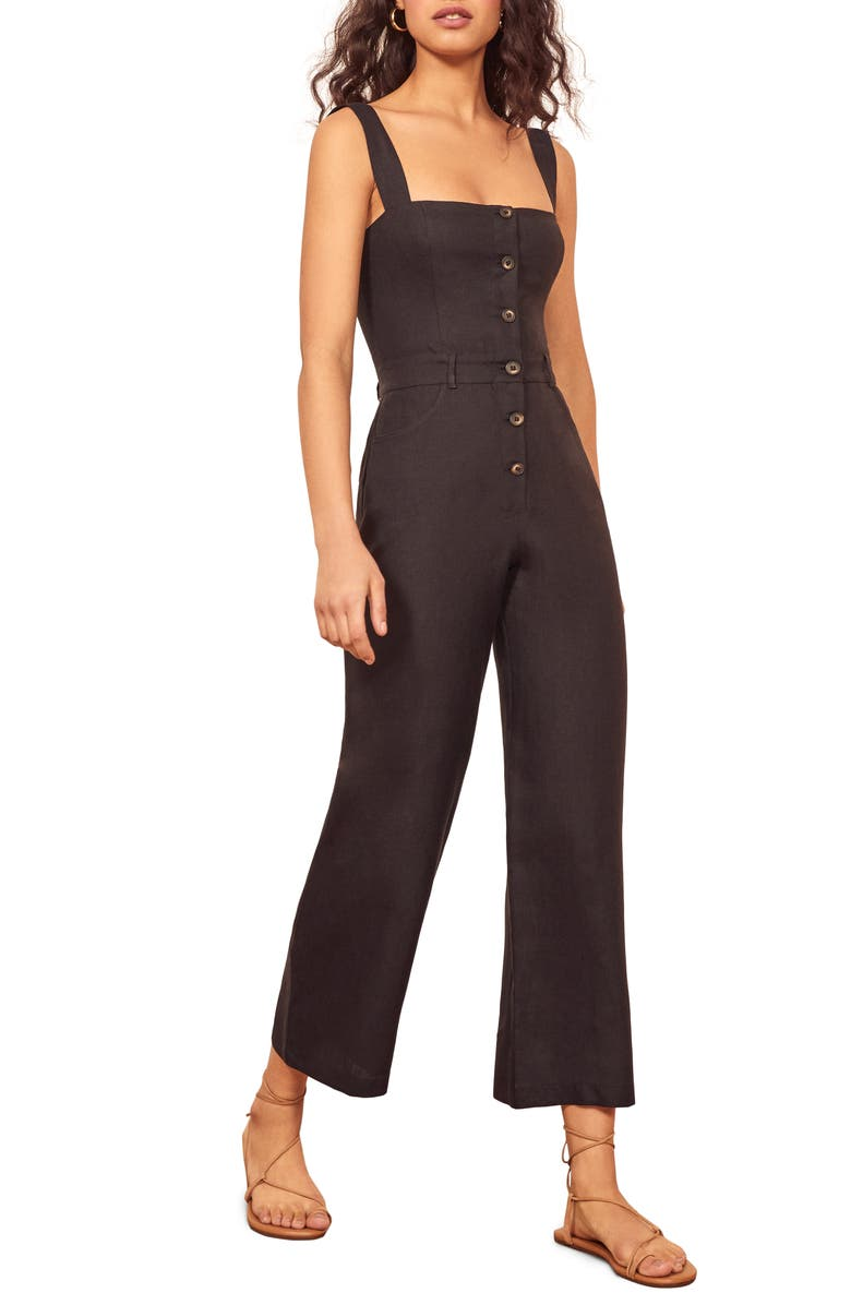 REFORMATION Tyler Button Linen Jumpsuit, Main, color, 001