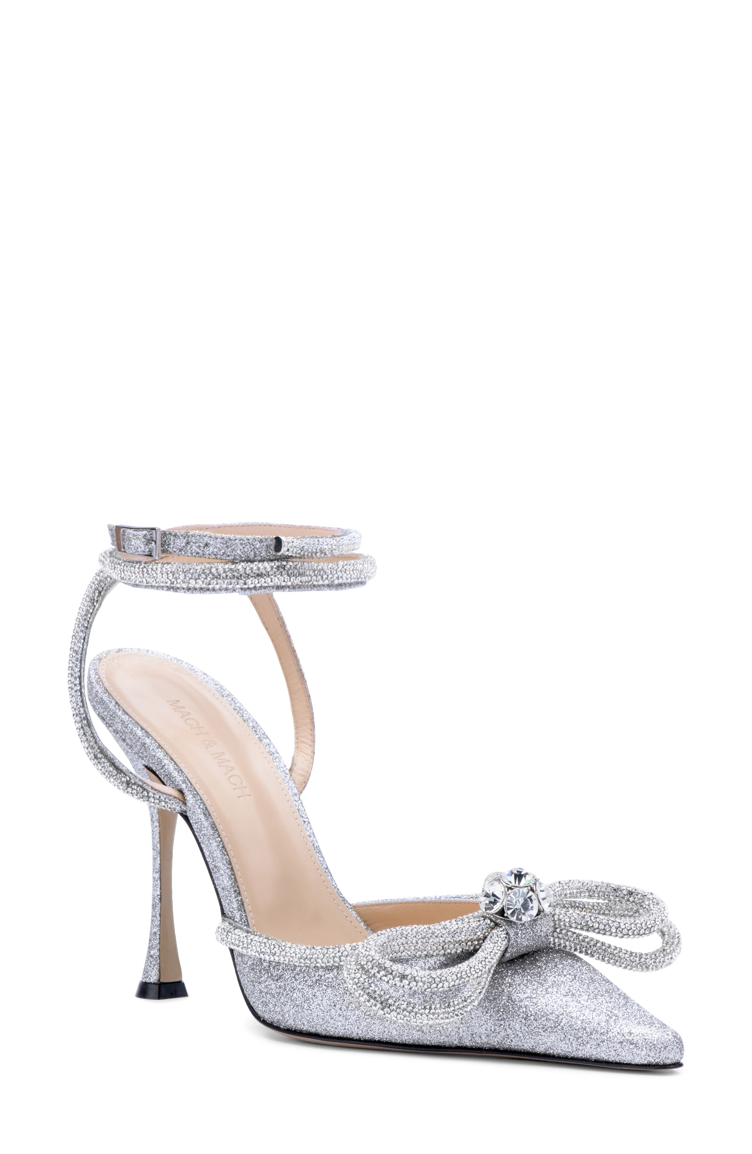 Glitter Double Crystal Bow Pointed Toe Pump