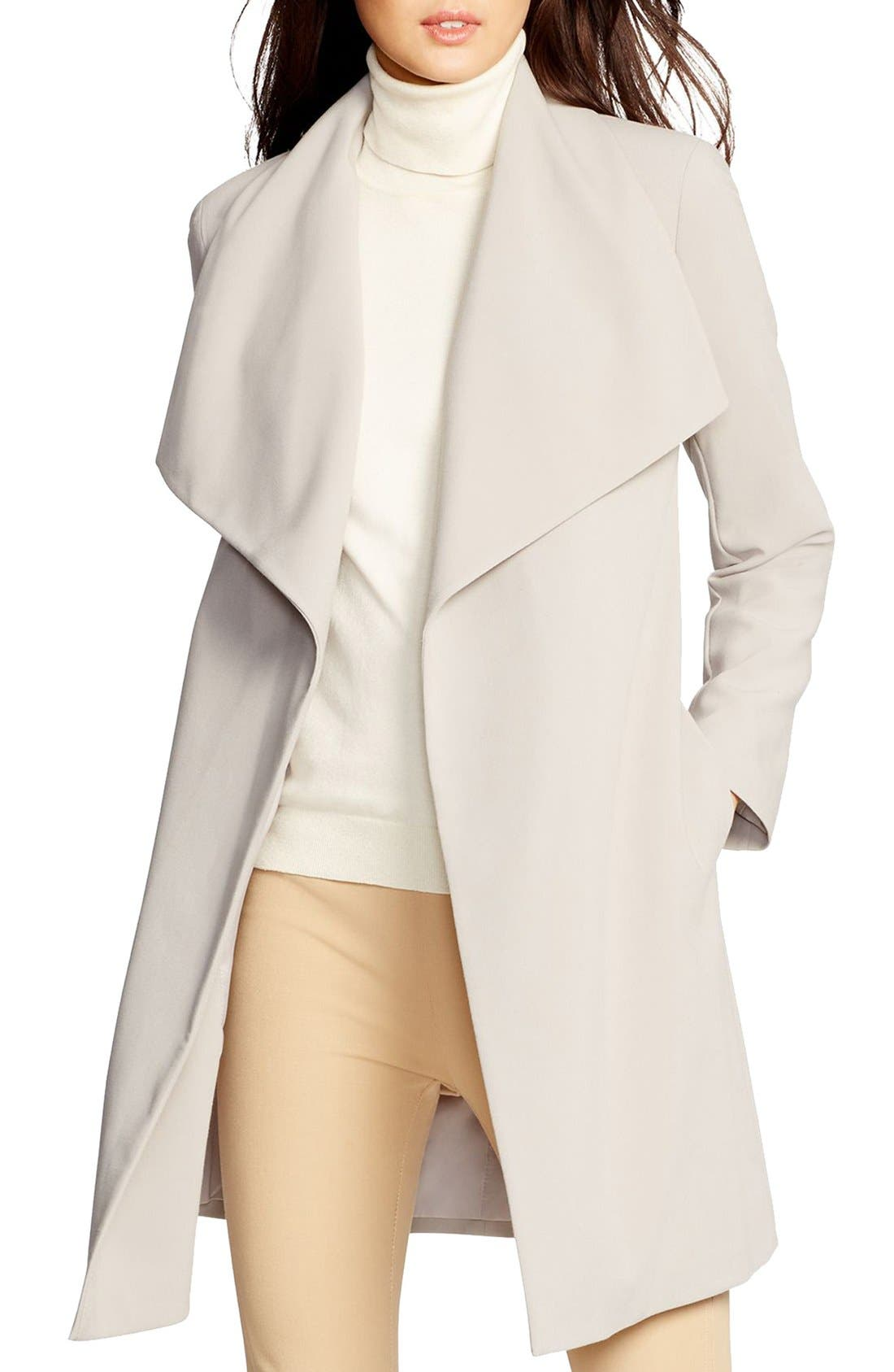 ,                             Belted Drape Front Coat,                             Main thumbnail 47, color,                             020