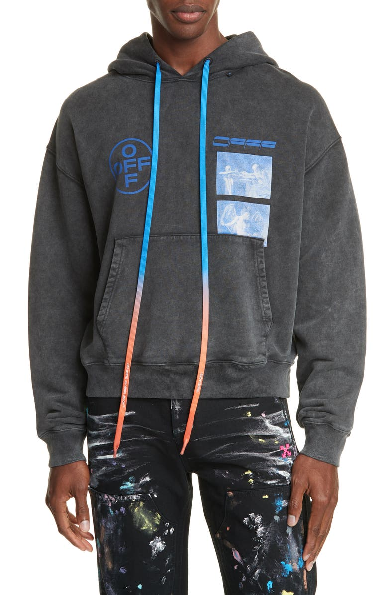 OFF-WHITE Hardcore Caravagg Hooded Sweatshirt, Main, color, BLACK/ BLUE