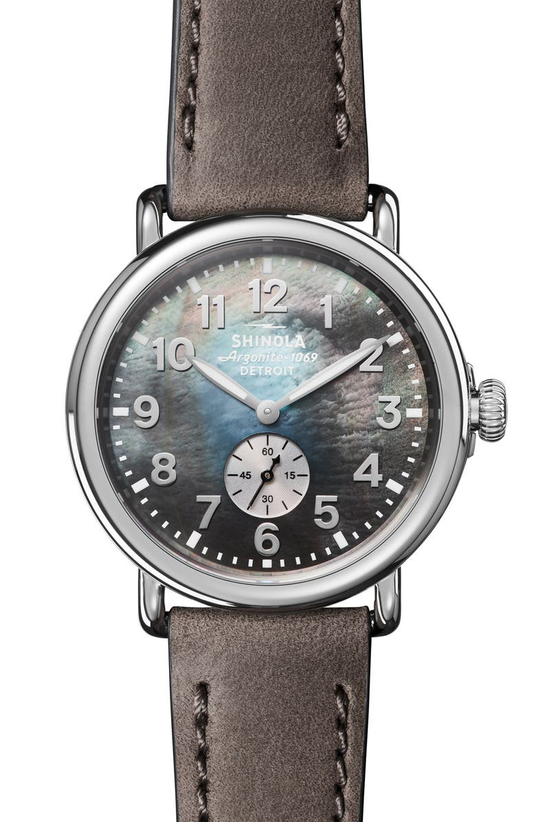 SHINOLA 'The Runwell' Leather Strap Watch, 41mm, Main, color, HEATHER GREY/ MOP/ SILVER
