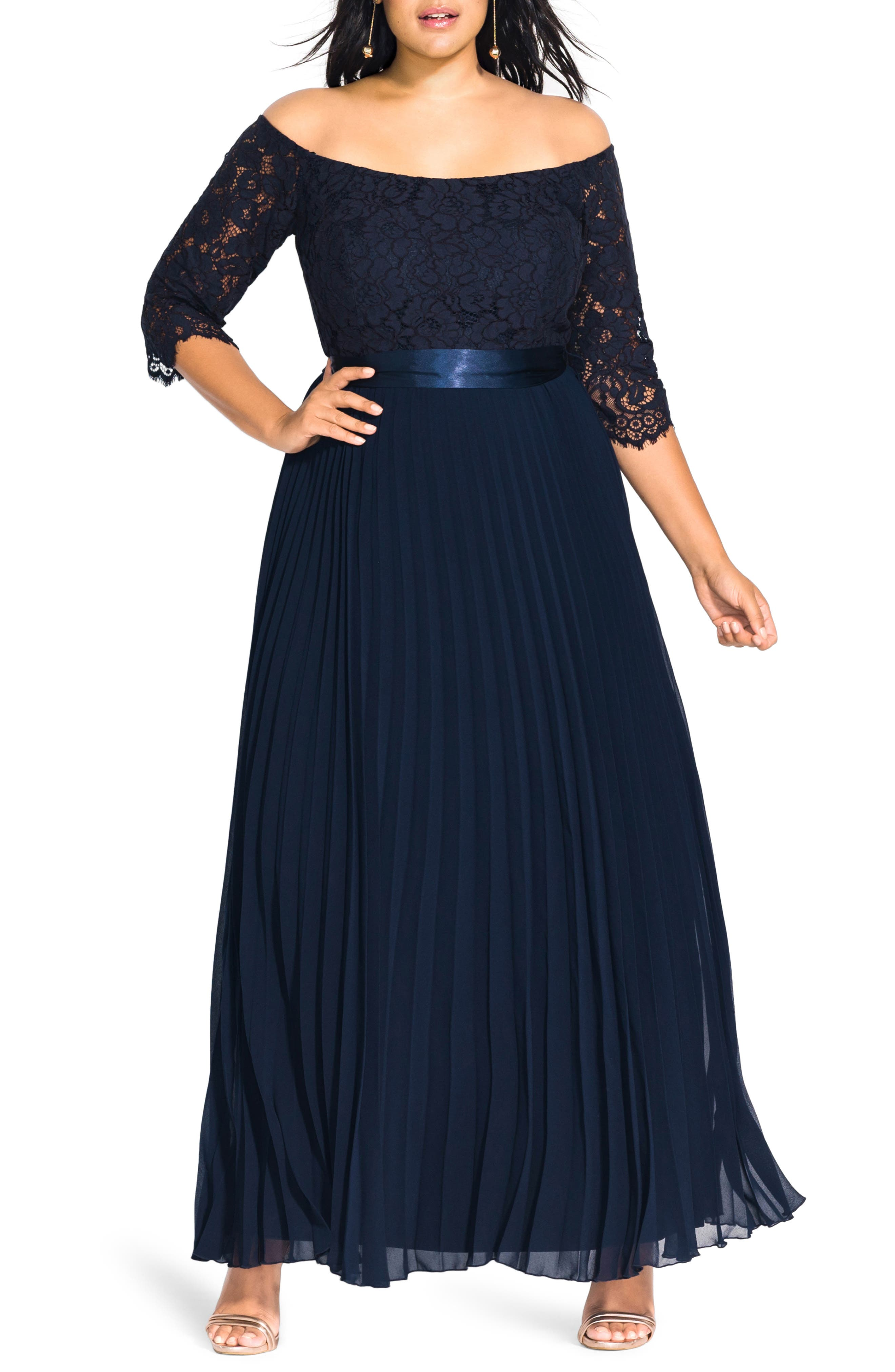 Plus Size City Chic Intriguing Lace Bodice Off The Shoulder Maxi Dress, Blue
