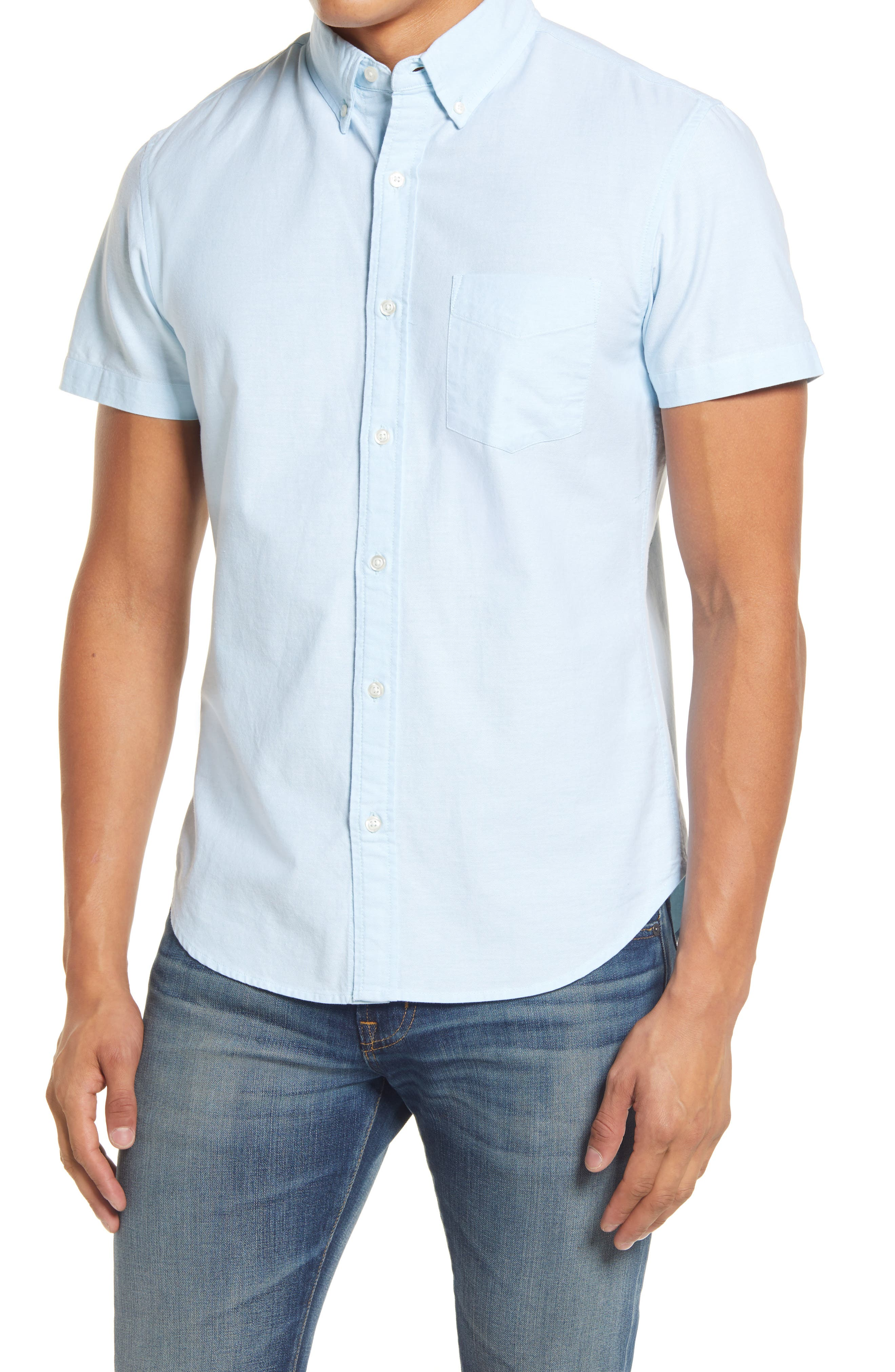 Crisp oxford cotton elevates a smart, casual shirt with versatile appeal. Style Name: Bonobos Slim Fit Oxford Short Sleeve Button-Down Shirt. Style Number: 6040995 1. Available in stores.