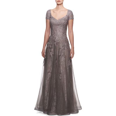 La Femme Tulle & Lace Gown, Metallic