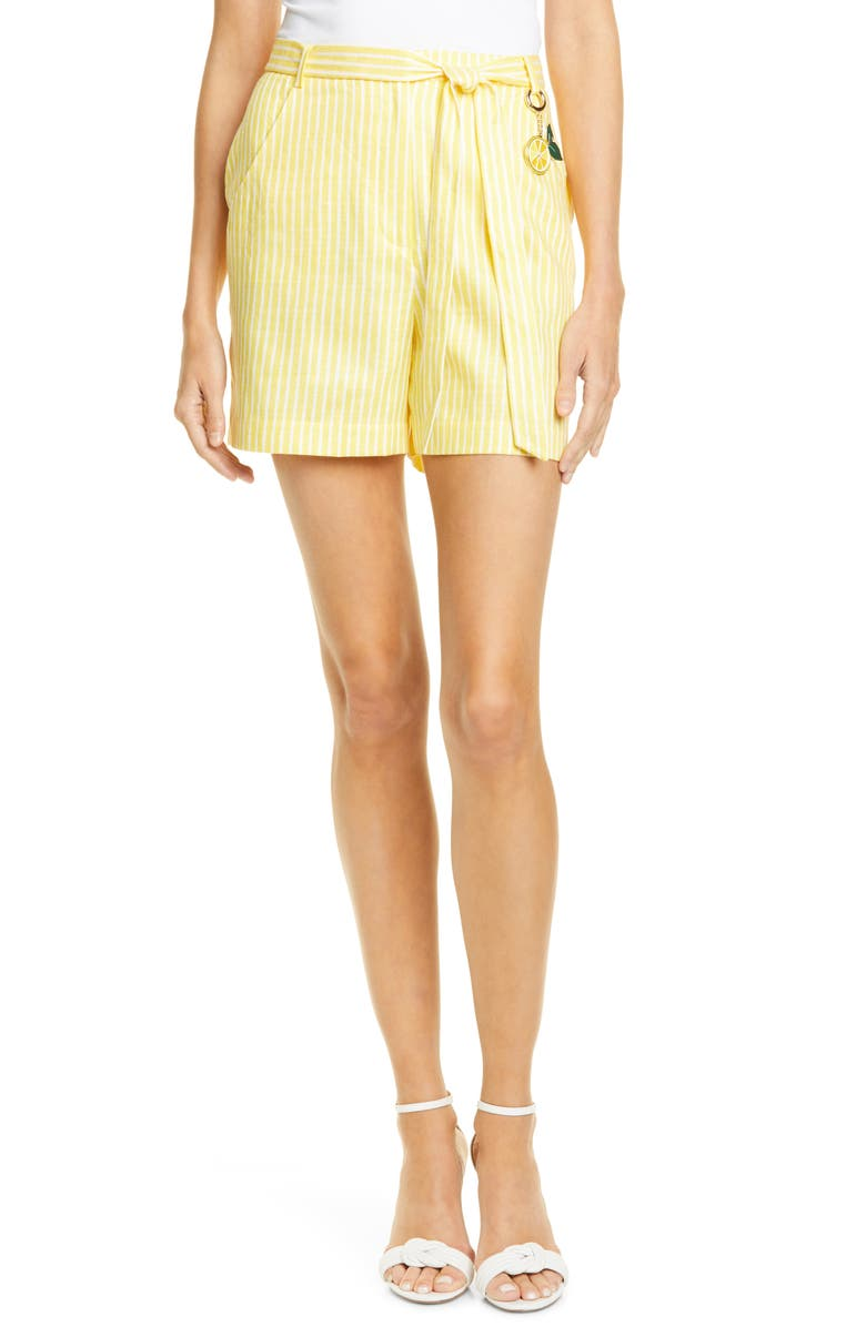 TED BAKER LONDON Virua Stripe Cotton & Linen Blend Shorts, Main, color, 720