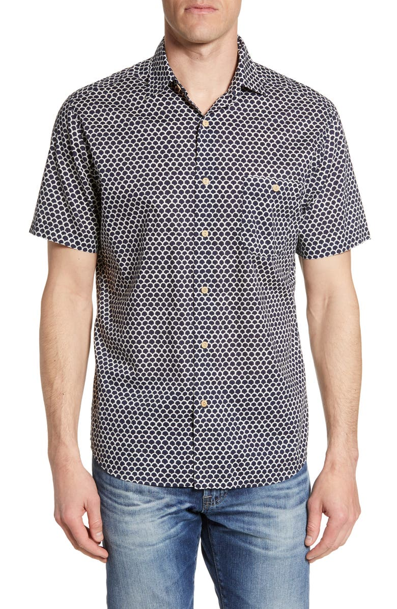 FAHERTY Coast Batik Short Sleeve Button-Up Shirt, Main, color, FISHSCALE BATIK