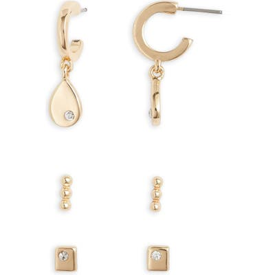 Halogen Set Of 3 Mixed Shapes Huggie Earring Set