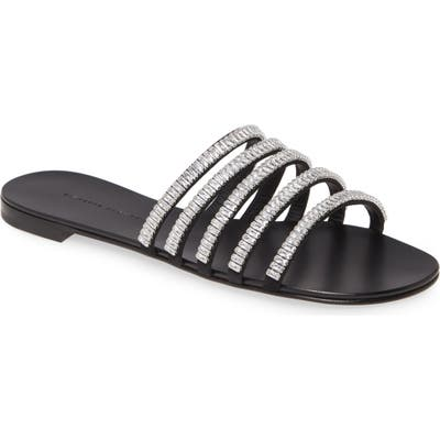 Giuseppe Zanotti Crystal Strap Slide Sandal, Black