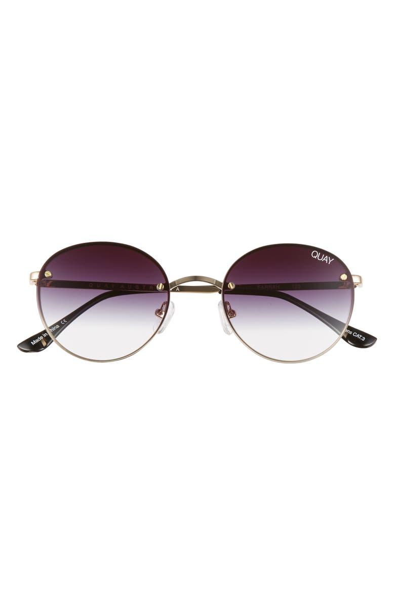 QUAY AUSTRALIA x Elle Ferguson Farrah 53mm Round Sunglasses, Main, color, GOLD/ FADE