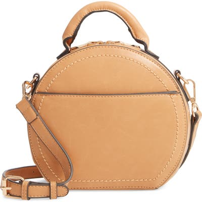 Sole Society Glyso Round Faux Leather Crossbody Bag - Brown