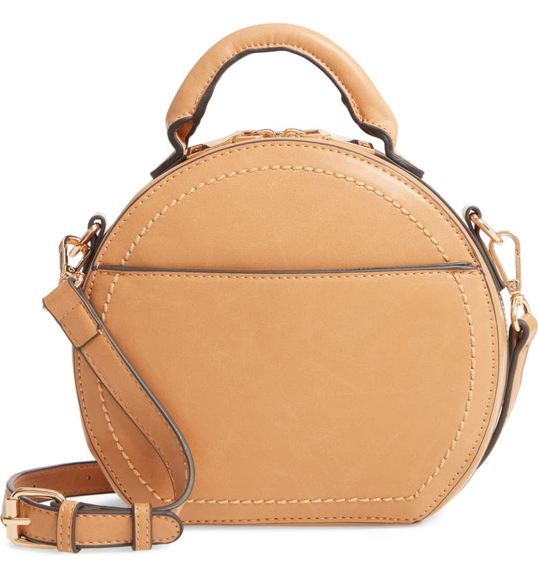 SOLE SOCIETY Glyso Round Faux Leather Crossbody Bag, Main, color, CAMEL