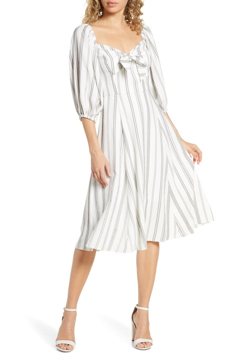 CHELSEA28 Stripe Knot Front Dress, Main, color, BLACK WHITE STRIPE
