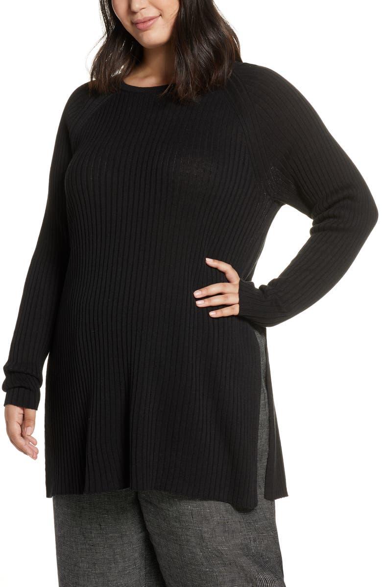 EILEEN FISHER Slit Organic Linen & Cotton Tunic, Main, color, BLACK