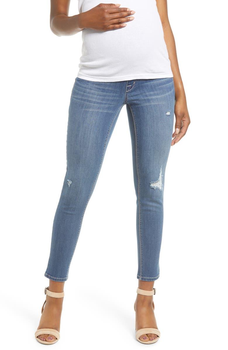 1822 DENIM Distressed Ankle Maternity Skinny Jeans, Main, color, CHRISTINA