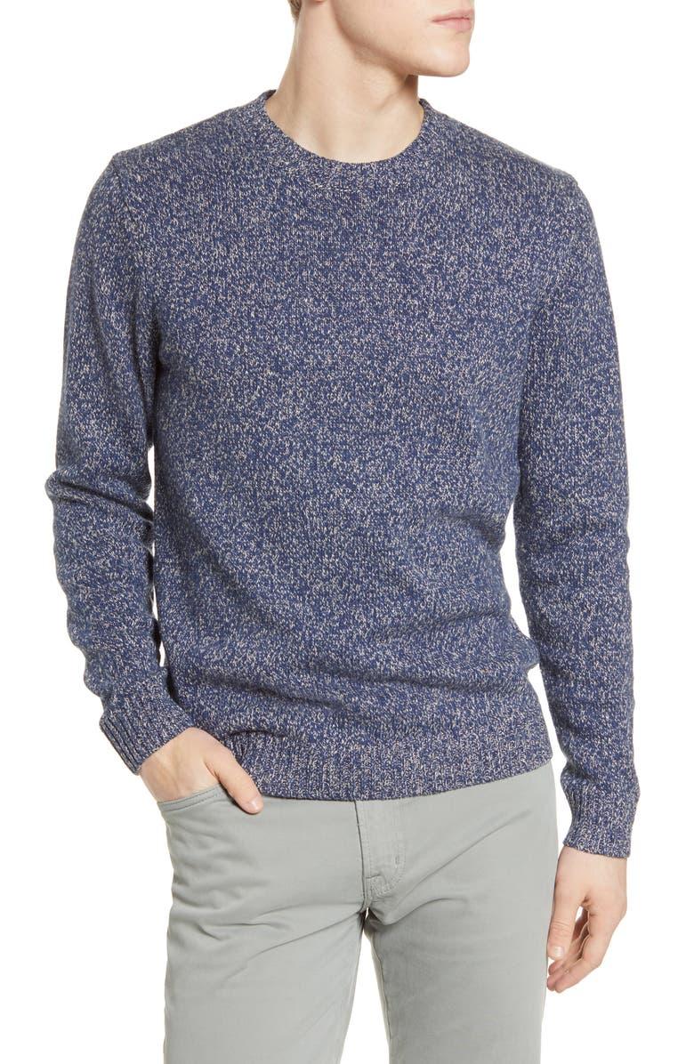 BONOBOS Marled Linen Blend Crewneck Sweater, Main, color, MARL HARBOUR