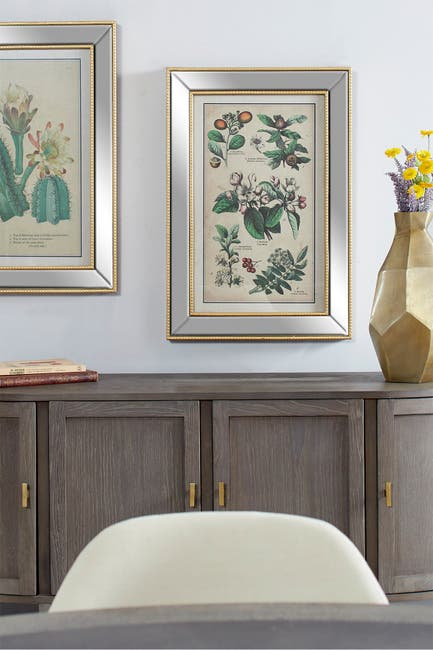 """Image of Willow Row Large Vintage Style Plant Illustrations Textile in Mirror and Gold Rectangular Frame, 19.5"""" x 28.5"""""""