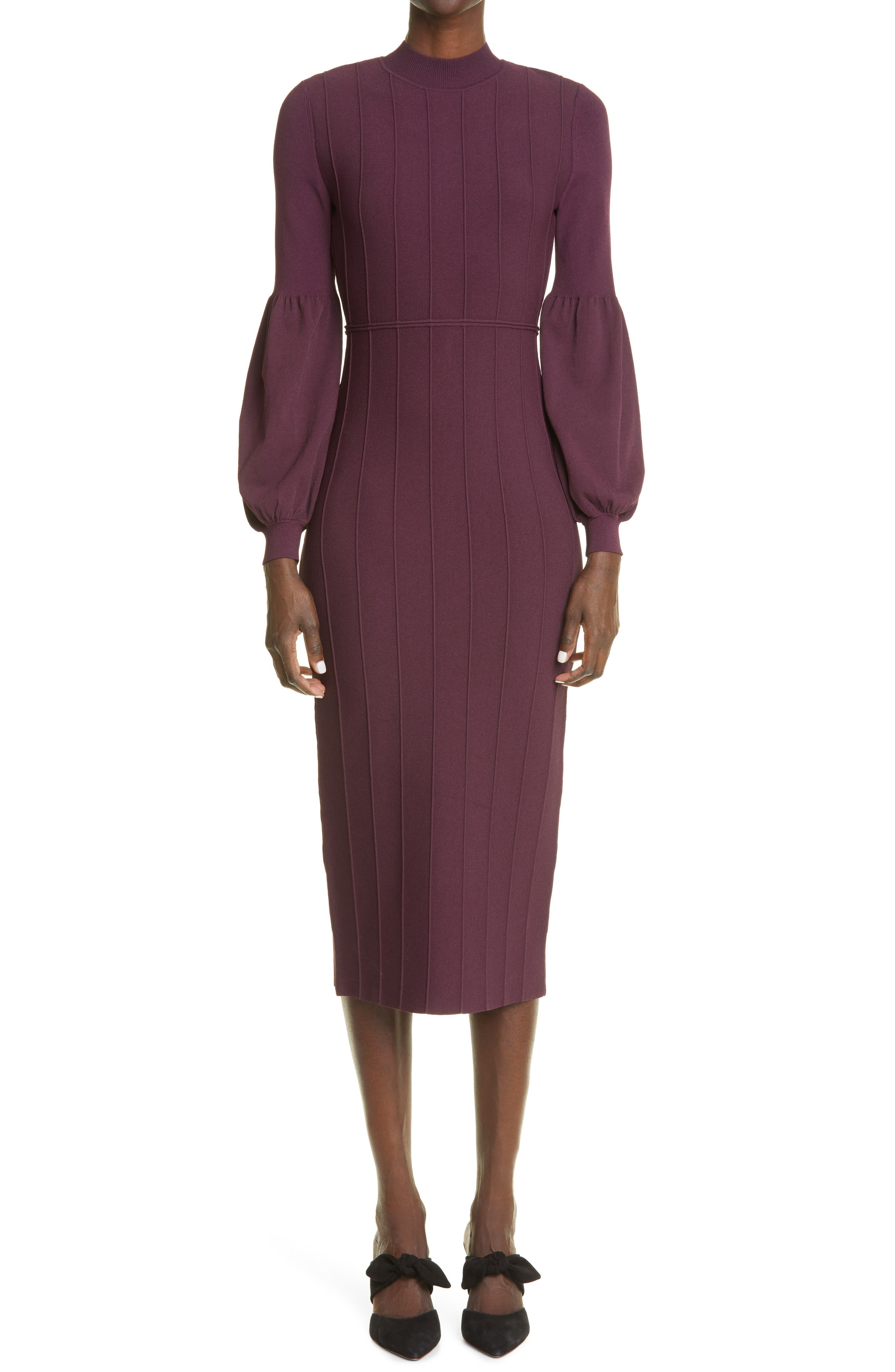 Long Puff Sleeve Knit Dress